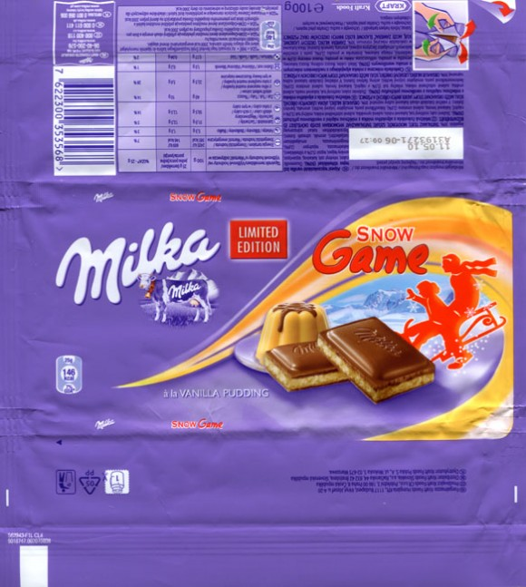 Milka Game Snow, milk chocolate with  a la vanilla pudding, 100g, 11.05.2009, Kraft Foods Hungary, Budapest, Hungary