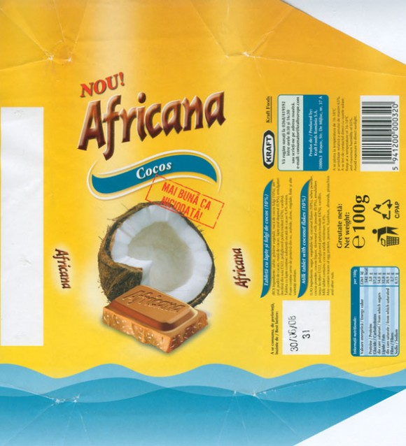 Africana, milk tablet with coconut flakes, 100g, 30.06.2007, Kraft Foods Romania, Brasov, Romania