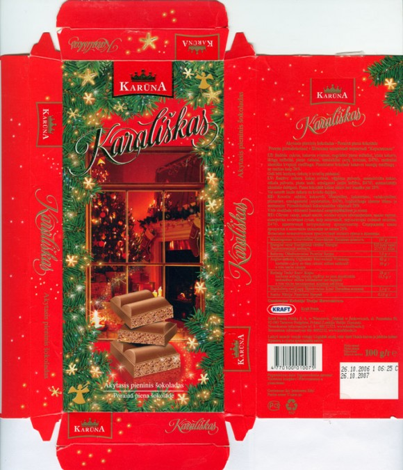 Karalishkas, air milk chocolate, 100g, 26.10.2006, Kraft Foods Lietuva, Kaunas, Lithuania
