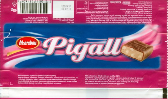 Pigall, milk chocolate filled with nut truffle, 40g, 01.05.2004