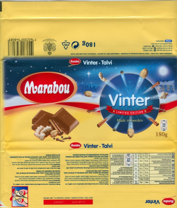 Vinter, limited edition, milk chocolate with caramelised cocoa nibs as well as clove and other spices, 180g, 01.08.2009, Kraft Foods Sverige, Angered, Sweden