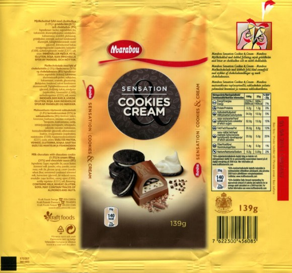 Marabou Sensation, milk chocolate with chocolate cookie in cream chocolate ssauce, 139g, 01.04.2010, Kraft Foods Sverige, Angered, Sweden