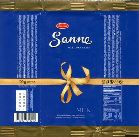 Sanne, milk chocolate, 100g, 19.04.2007, AS Laima, Riga, Latvia