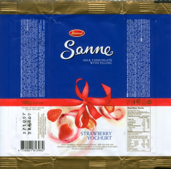 Sanne, milk chocolate with strawberry youghurt filling, 100g, 21.01.2007, AS Laima, Riga, Latvia