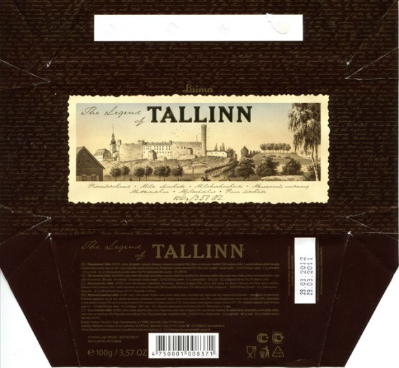 The legend of Tallinn, milk chocolate, 100g, 29.03.2011, Laima, Riga, Latvia