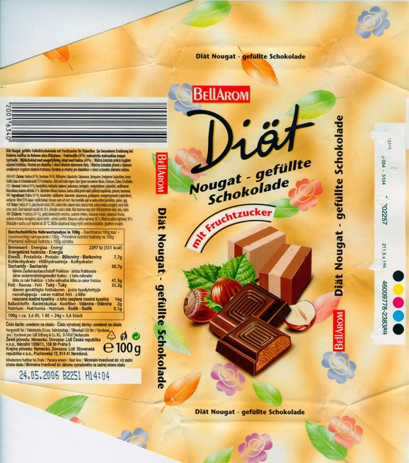Bellarom, Diat,milk chocolate with nuts, sugar free, 100g, 24.05.2005, Lidl Stiftung&Co.KG, D-74167 Neckarsulm