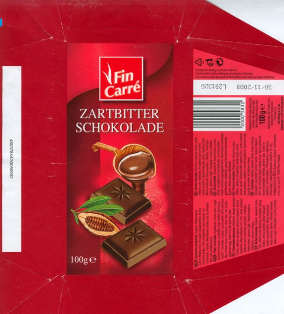 FinCarre, plain chocolate, 100g, 30.01.2008, Lidl Stiftung&Co.KG, D-74167 Neckarsulm, Germany
