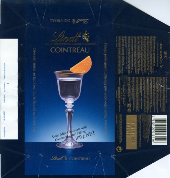 Swiss milk chocolate with cointreau liquid filling, 100g, 31.05.2005, Lindt & Sprungli,Kilchberg, Switzerland