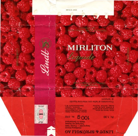Mirliton Liquide, milk chocolate with raspberry filling, 100g, about 1970, Lindt & Sprungli, Kilchberg, Switzerland