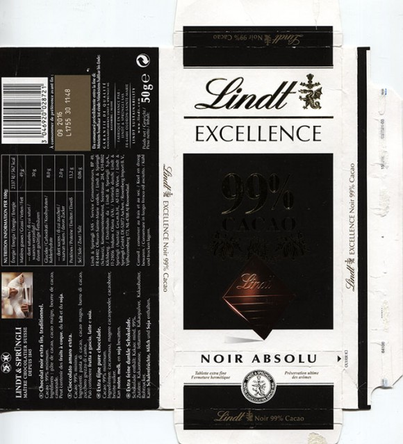 Excellence, 99% cacao, extra fine pure chocolate, 50g, 09.2015, Lindt & Sprungli AG, Kilchberg, Switzerland