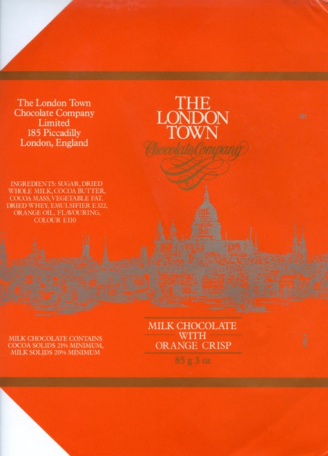 The London Town, milk chocolate with orange crisp, 85g, 1980, The London Town chocolate company, London, England