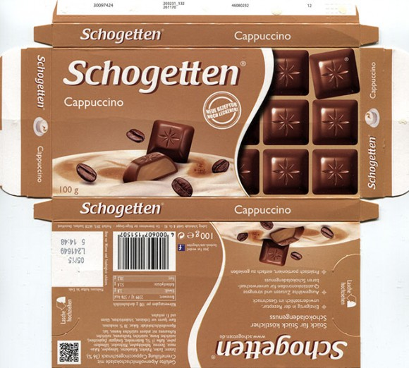 Schogetten, Alpine milk chocolate with capuccino cream filling, 100g, 05.2014, Ludwig Schocolade GmbH&Co.KG, Saarlouis, Germany