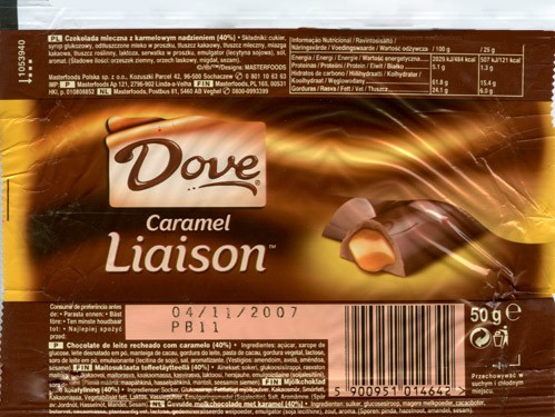 Dove, milk chocolate with caramel filling, 50g, 04.11.2006, Masterfoods Polska, Sochaczew, Poland