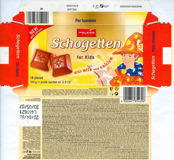 Schogetten for kids, filled milk chocolate with milk centre, milk content and calcium added, 100g, 20.04.2006, Mauxion Schokoladefabrik GmbH, Saarlouis, Germany
