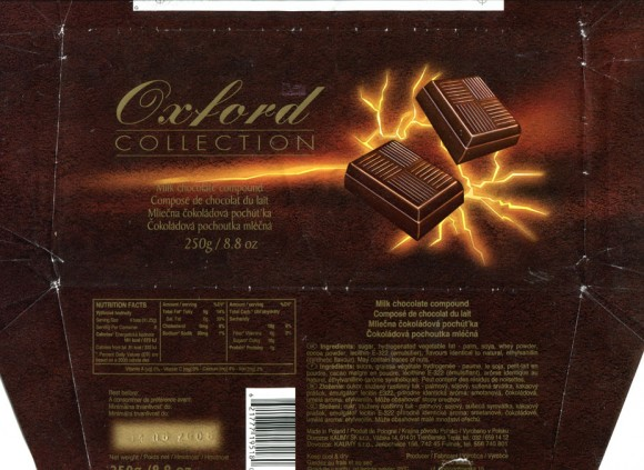 Oxford collection, milk chocolate compound, 250g, 01.06.2005, Millano ZWC, Przezmierowo, Poland