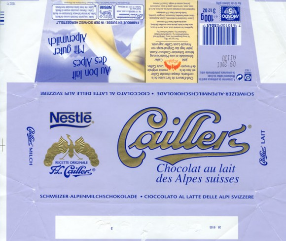 Cailler, milk chocolate, 100g, 09.2000, Nestle Switzerland Ltd, Vevey, Switzerland