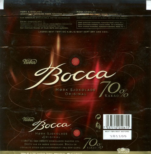 Bocca, dark chocolate 70%, 55g, 18.11.2008, Nidar AS, Trondheim, Norway
