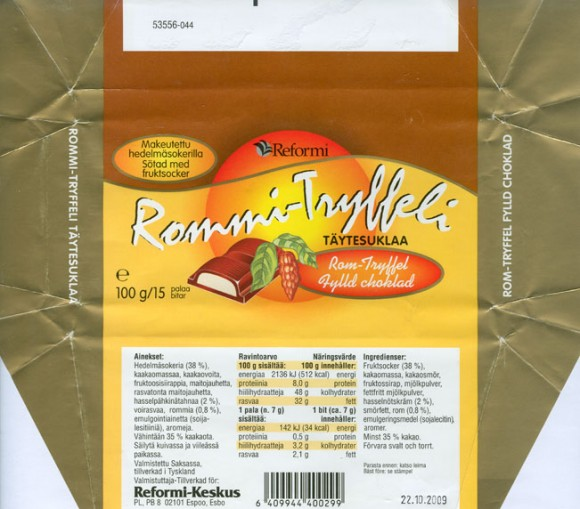 White chocolate with rom-truffel filling, sugar free, 100g, 22.10.2008, Reformi-Keskus, Espoo,  Made in Germany