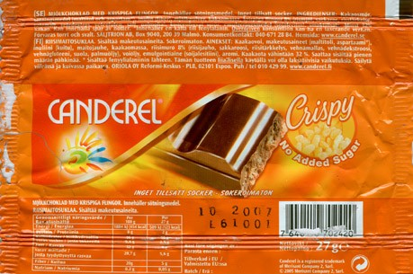 Canderel, milk chocolate with rice crispy, no added sugar, 27g, 10.2006, Oriola Oy Reformi-Keskus, Espoo, Finland