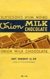 Milk chocolate, 23g, 1965, Orion Modrany, Praha, Czech Republic (CZECHOSLOVAKIA)