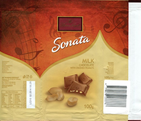 Milk chocolate with crushed peanuts, 100g, 02.2013, Vilniaus Pergale AB, Vilnius, Lithuania