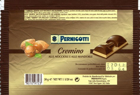 Cremino, chocolate with hazelnuts and almonds cream filling, 30g, 09.2003, Pernigotti S.p.A., Novi Ligure, Italy