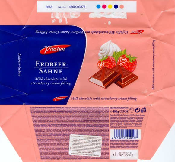 Milk chocolate with strawberry cream filling, 100g, 11.07.2004