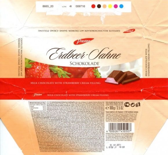 Milk chocolate with strawberry cream filling, 100g, 31.10.2010, Piasten GmbH & Co KG., Forchheim, Germany