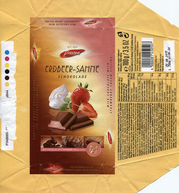 Milk chocolate with strawberry cream filling, 100g, 25.08.2014, Piasten GmbH & Co KG., Forchheim, Germany