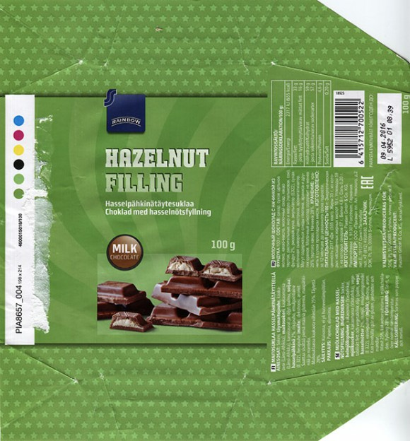 Milk chocolate with hazelnuts filling, 100g, 09.04.2015, Piasten GmbH & Co KG., Forchheim, Germany