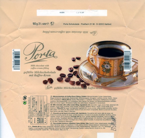 Porta, milk chocolate with coffee-cream-filling, 100g, 29.01.2006, Porta Schokolade, Postfach 22 38, D-32012 Herford, Germany