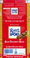 Ritter sport, rum-trauben-nuss, milk chocolate with rum, rasins and hazelnuts, 100g, 11.1989, Alfred Ritter GmbH & Co. Waldenbuch, Germany