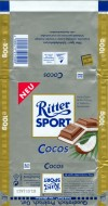 Ritter sport, cocos, milk chocolate with coconut filling, 100g, 01.1999, Alfred Ritter GmbH & Co. Waldenbuch, Germany