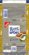 Ritter sport, cocos, milk chocolate with a coconut-milkcream filling, 100g, 11.1999, Alfred Ritter GmbH & Co. Waldenbuch, Germany