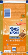 Ritter sport, milk chocolate with a filling of caramel cream, chopped hazelnuts and rice flakes, 100g, 07.2004, Alfred Ritter GmbH & Co. Waldenbuch, Germany