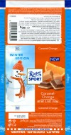 Ritter sport, winter edition, filled milk chocolate with a cream of caramel and orange, 100g, 14.06.2013, Alfred Ritter GmbH & Co. Waldenbuch, Germany