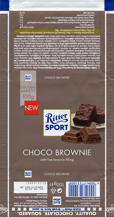 Ritter sport, choco brownie, chocolate with fine brownie filling, 100g, 20.08.2017, Alfred Ritter GmbH & Co. Waldenbuch, Germany