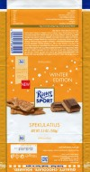 Ritter sport, winter edition, filled milk chocolate with a cocoa flavoured milk creme refined with winter spices, 100g, 24.05.2017, Alfred Ritter GmbH & Co. Waldenbuch, Germany