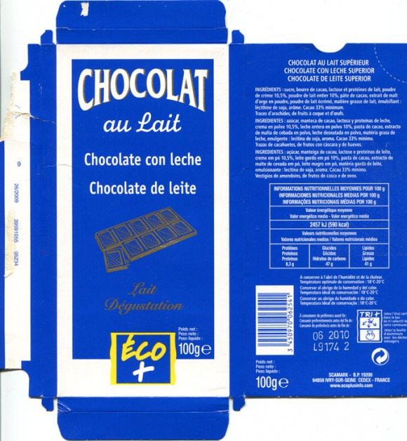 Milk chocolate, 100g, 06.2009, Scamark, Ivry-Sur-Seine Cedex, France