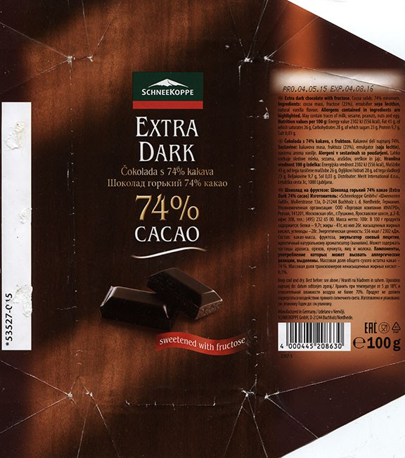 Extra dark chocolate, 100g, 04.05.2015, Schneekoppe Gmbh Co. KG, Seevetal, Germany
