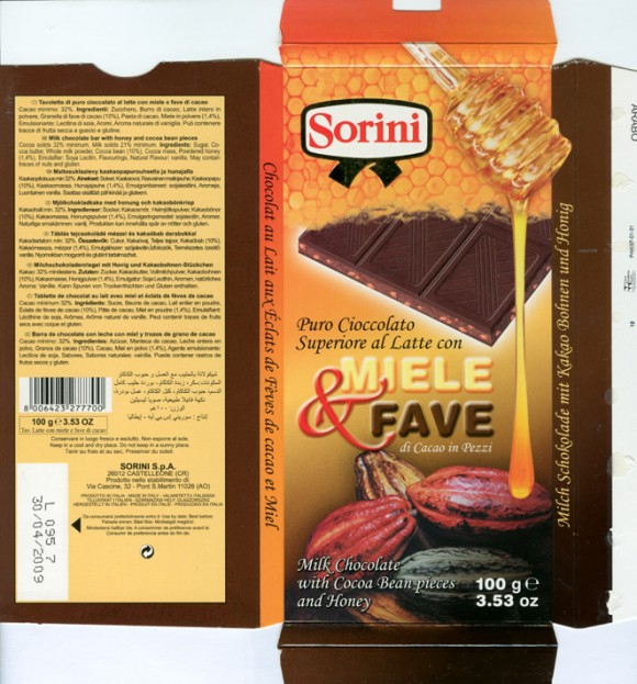 Milk chocolate bar with honey and cocoa bean pieces, 100g, 30.04.2007, Sorini S.p.A, Castelleone, Italy