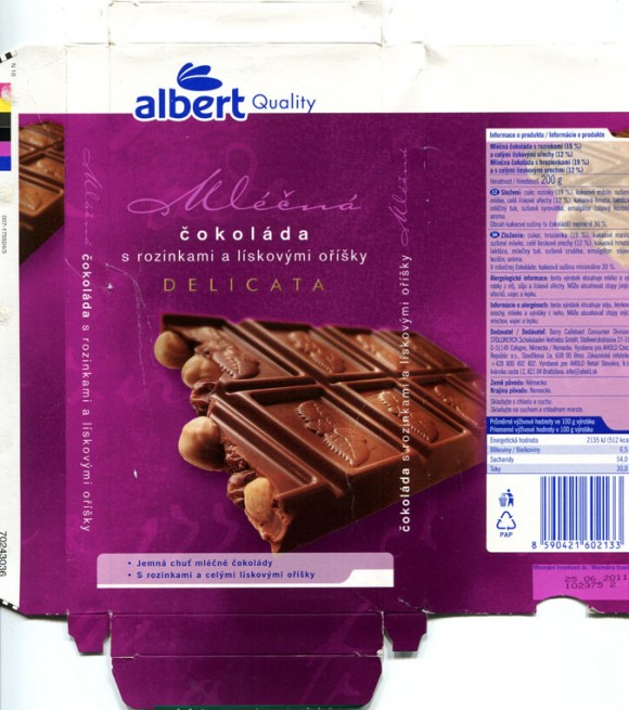 Milk chocolate with raisins and nuts, 200g, 25.06.2010, Stollwerck Schokoladen Vertriebs GmbH for AHOLD Czech Republic a.s., Cologne, Germany