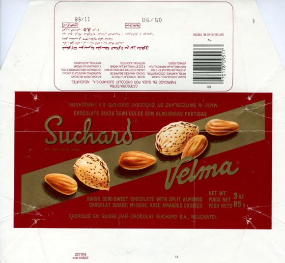 Velma, swiss semi-sweet chocolate with split almonds, 85g, 11.1988, Suchard S.A., Neuchatel, Switzerland