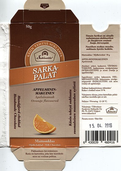 Handmade milk chocolate with orange flavoured, 50g, 15.04.2015, Suojarven Suklaatila Oy, Ylojarvi, Finland