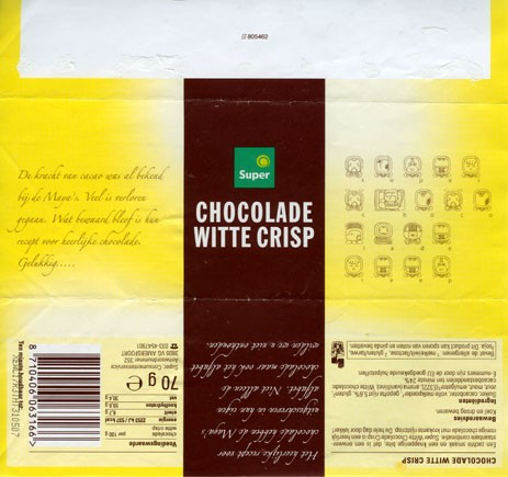 White milk chocolate with crisp, 70g, 31.05.2006, Super de Boer, Amersfoort, Netherlands