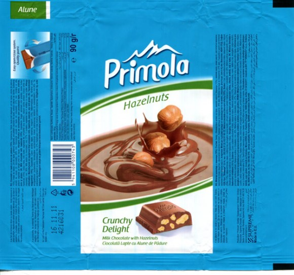 Primola, milk chocolate with hazelnuts, 90g, 16.11.2010, Supreme Chocolat S.R.L., Bucharest, Romania
