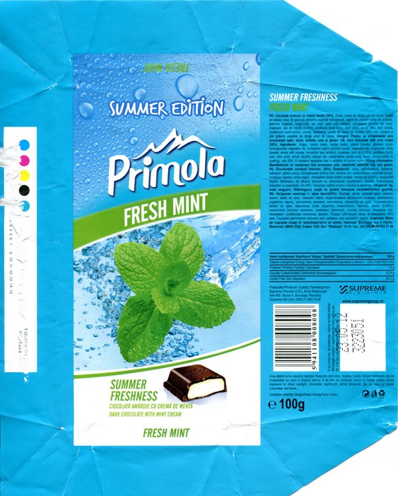 Primola, Summer freshness, dark chocolate with mint cream, 100g, 23.05.2011, Supreme Chocolat S.R.L., Bucharest, Romania