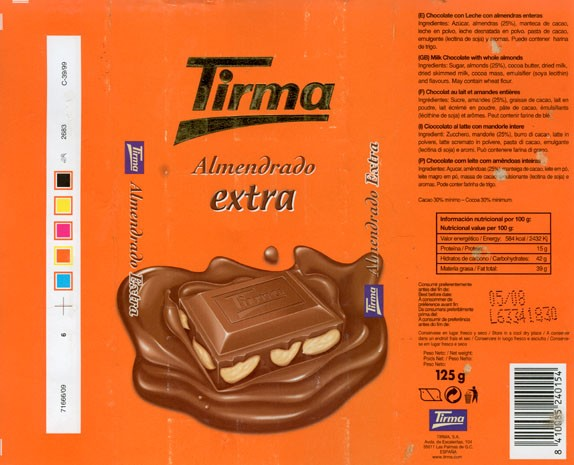 Milk chocolate with whole almonds, 125g, 05.2007, Tirma S.A, Las Palmas de Gran Canaria, Spain