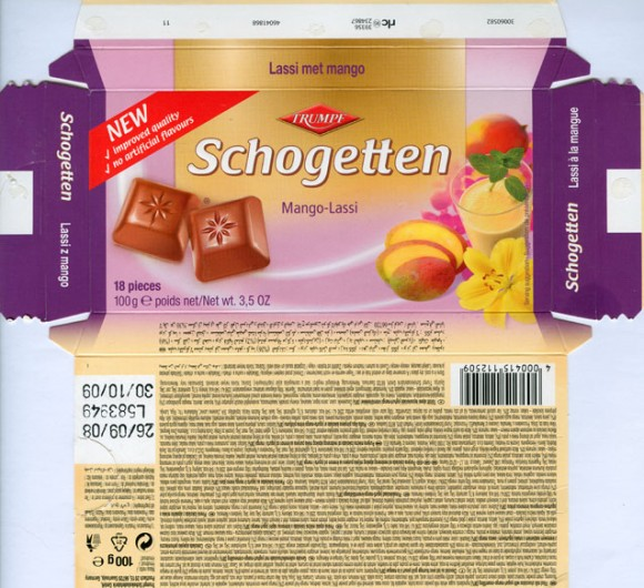 Schogetten, filled milk chocolate with yogurt-mango-cream filling, 100g, 26.09.2008, Trumpf Schokoladenfabrik GmbH, Saarlouis, Germany