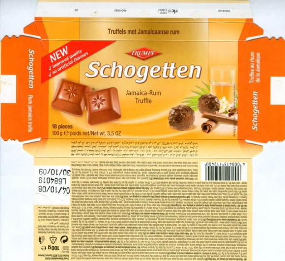 Schogetten, Jamaica-rum, filled milk chocolates with jamaica rum truffle-filling, 100g, 04.10.2008, Trumpf Schokoladenfabrik GmbH, Aachen, Berlin, Germany